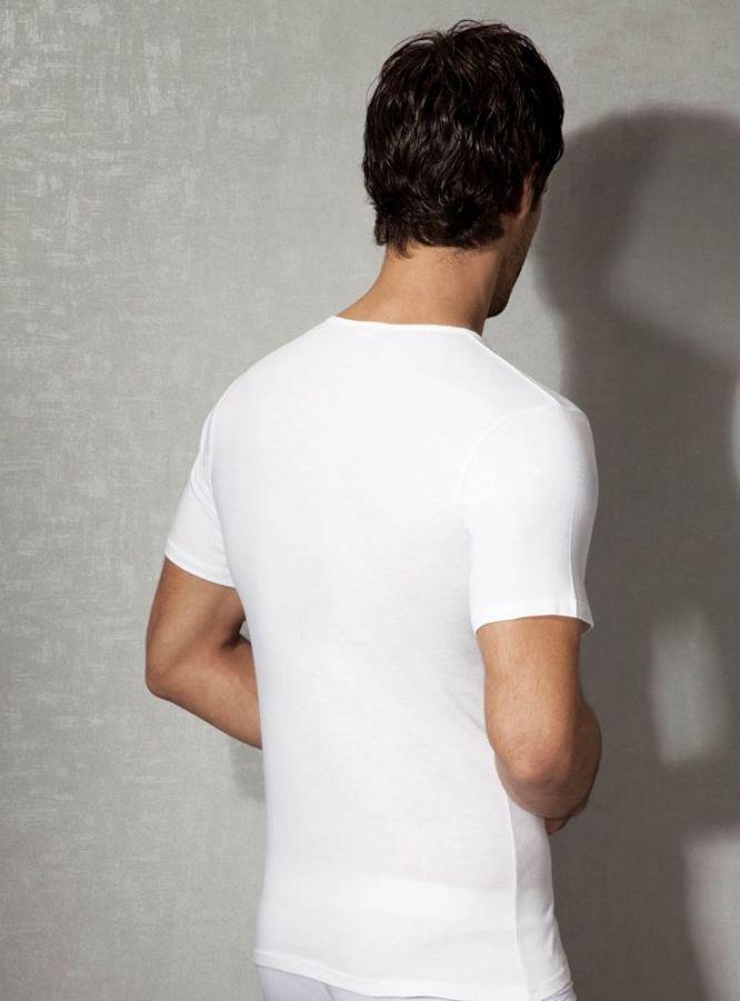 Doreanse, Pamuklu V Yaka Erkek T-shirt 2810 beyaz arka