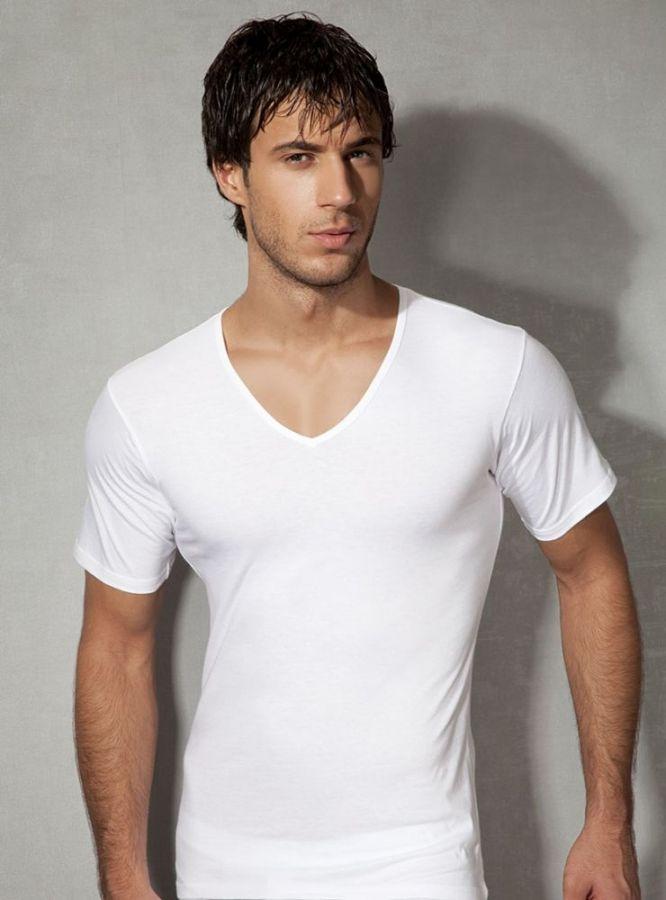 Doreanse, Pamuklu V Yaka Erkek T-shirt 2810 beyaz