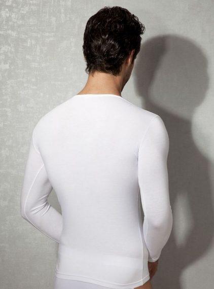 Doreanse,Uzun Kollu Likralı Slim Fit Erkek T-shirt 2955 beyaz arka
