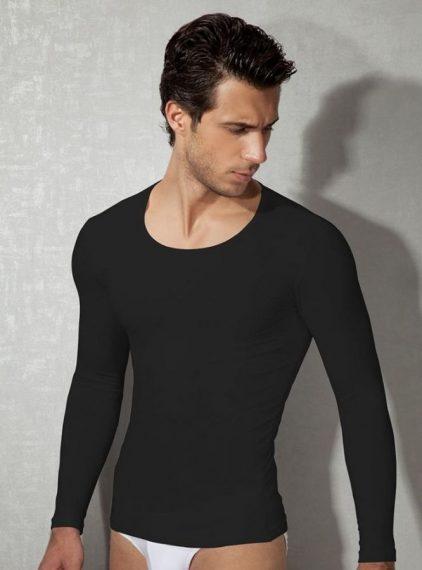 Doreanse,Uzun Kollu Likralı Slim Fit Erkek T-shirt 2955 siyah