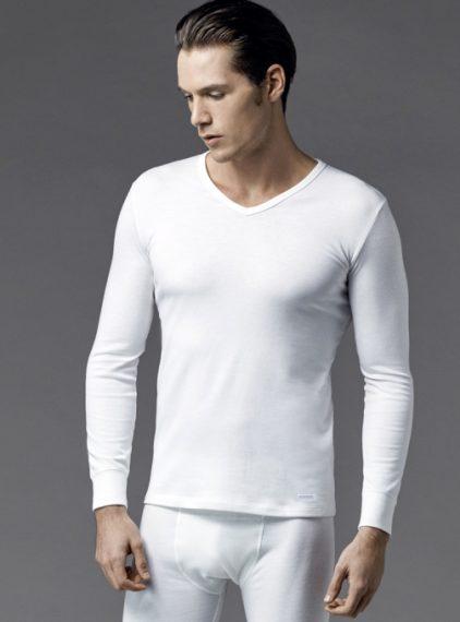 Eros V Yaka Erkek Termal T-shirt 1458 ekru