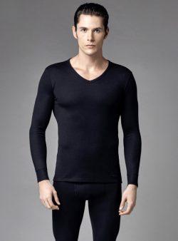Eros V Yaka Erkek Termal T-shirt 1458 siyah