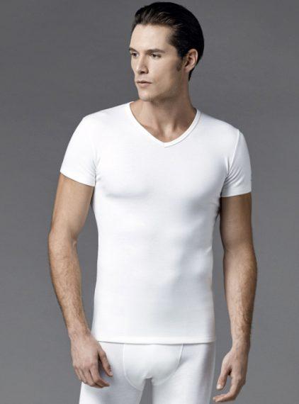 Eros V Yakalı Erkek Termal T-shirt 1456 ekru