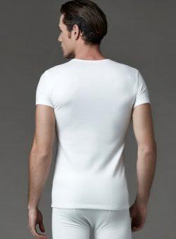 Eros V Yakalı Erkek Termal T-shirt 1456 ekru arka