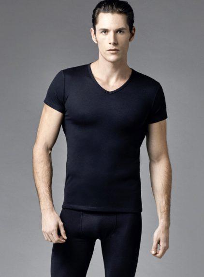 Eros V Yakalı Erkek Termal T-shirt 1456 siyah