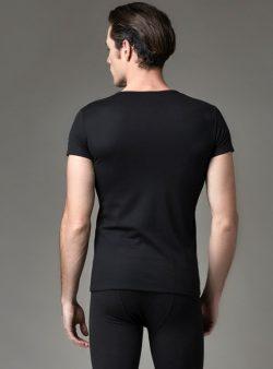 Eros V Yakalı Erkek Termal T-shirt 1456 siyah arka