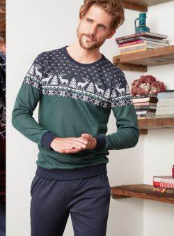 Feyza Uzun Kollu Karaca Desenli Çift, Sevgili Pijama Takımı 3320-3321 erkek