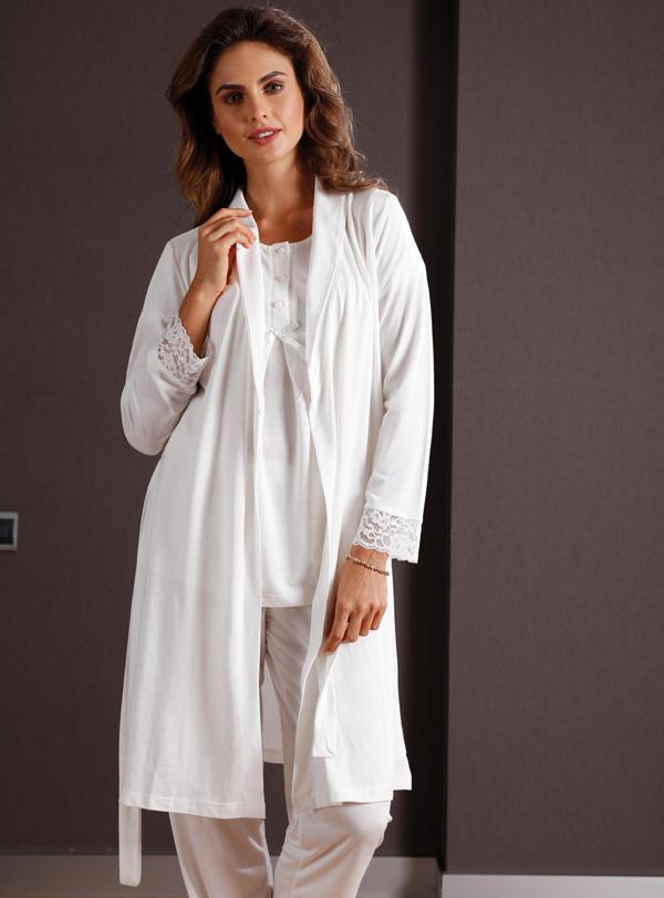 Yeni İnci Üçlü Pamuklu Pijama Takımı 149