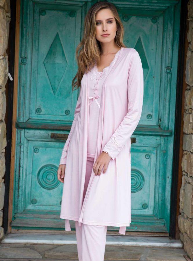 Yeni inci Üçlü Pamuklu Pijama Takımı 129